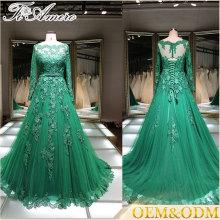 Senhoras verdes escuras Custom Made Designs Full Length Long Evening Party Wear long sleeve evening