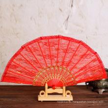 ventilador de mão dobrável de bambu personalizado colorido