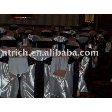 Satin chair covers, common style chair cover,hotel/banquet chair cover,black satin sash