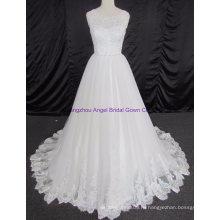 Империя Cap Рукавом Кружева Свадебное Платье