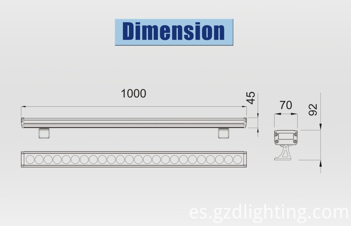 led wall washers dimension