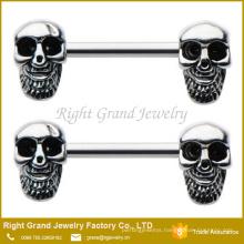 Surgcial Steel Enamel Skull Pattern Nipple Ring body Jewelry