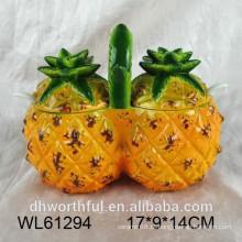 2016 abacaxi de cerâmica recipiente de açúcar duplo
