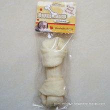 """Chew de chien de 7 """"-8"""" White Oeuf nœud puffy plat pour chien"""