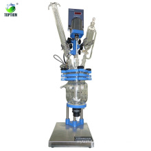 Uso de laboratorio de alta calidad Mini reactor de cristal encamisado químico 2L, 50-800rpm