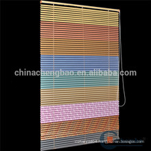 Rainbow colored aluminum window blinds