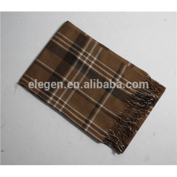 Men acrylic checked Plaid pattern Long big scarf with fringe