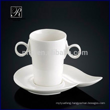 Porcelain two handle coffee cup with saucer breakfast milk cup with saucer