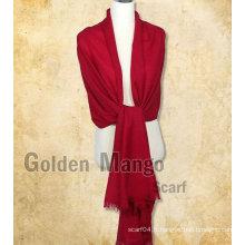 Châle Pashmina 100% en laine pleine couleur