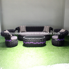 Special design outdoor material flat belt sofa set with coffee table