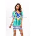 2017 moda verão impresso vestido de praia Moda leopardo de comércio