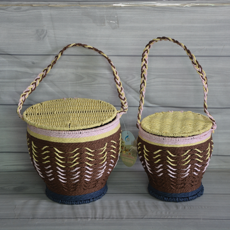 Round Paper Rope Weaving Basket