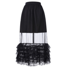 Belle Poque Vintage Retro Mujeres Atractivas de encaje de encaje Hem ver a través de falda larga BP000348-1