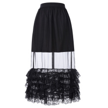 Belle Poque Retro Vintage Sexy Women's Ruffled Lace Hem See-Through Long Skirt BP000348-1