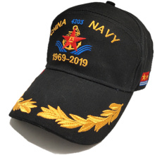 black baseball cap embroidery logo front and on the visor of it