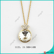 Gold Tone Round Crystal Fashion Necklace (PN)