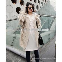 15JW314 2016 mulher crochê cardigan casaco com borlas