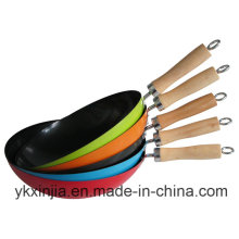 Cookware Colorful Carbon Steel Non-Stick Wok Kitchenware for European Market