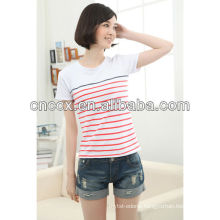 13ST1002 Ladies' striped fashion slim fit wholesale t shirts