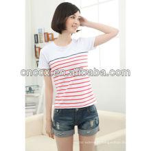 13ST1002 Ladies 'listrado moda slim fit atacado camisetas