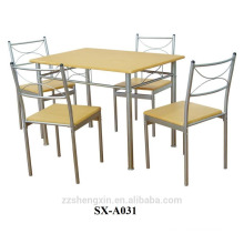 Beech and metal Dining Table and Chairs