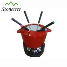 Máquina de fazer fondue em ferro fundido esmaltado com 6 garfos de fondue