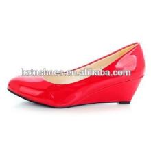 Fancy дамы клин насосы круглый Toe клинья женщин офисной работы платье обувь ню цвета леди партии обувь насосы