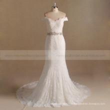 Graceful V-Neck Lace Beaded Fish Cut Robe de mariée Sweep Tail