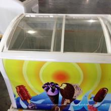 congelador de helado de la tapa del vidrio del congelador de pecho al por mayor para la venta