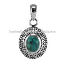 Piedra preciosa tibetana hermosa de la turquesa y joyería pendiente del diseño antiguo de la plata esterlina 925