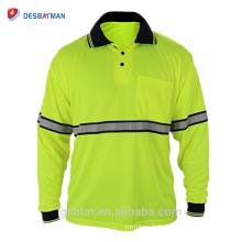 Vente en gros Qualité garantie 100% Polyester T-shirt de sécurité à manches longues Hi Vis réfléchissant polos avec poche de stylo