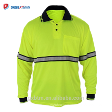 Wholesale Guaranteed Quality 100% Polyester Safety T-shirt Long Sleeve Hi Vis Reflective Polo Shirts with Pen Pocket