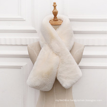 Fashion fake rabbit fur cross collar scarf thicker warm winter faux fur scarf