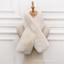 Moda falso coelho pele cruz gola cachecol mais grosso inverno quente cachecol de pele do falso