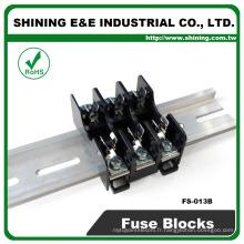 FS-013B 600V 10 ampères 3 voies Midget Type Din Rail Glass Fuse Block