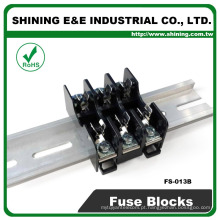 FS-013B 600V 10 Amp 3 Way Midget Type Din Rail Bloco de fusíveis de vidro