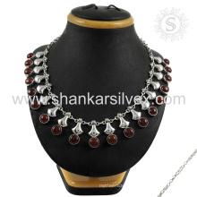 Потрясающие красная яшма драгоценных камней серебряный ювелирных изделий ожерелья 925 серебряные ювелирные изделия индийских серебряные ювелирные изделия