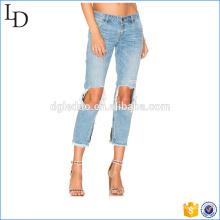Vente chaude grand genou trou jeans pantalons en vrac coton ciel bleu élégant pantalon