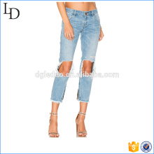 Venda quente grande joelho buraco jeans calças de algodão a granel céu azul calças elegantes