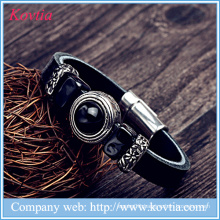 Latest charm leather bracelet with stone black leather bracelet with magnetic closure