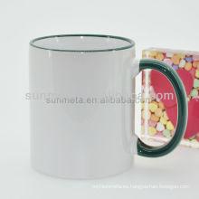 11oz Taza blanca para sublimación venta al por mayor con aro ahandle color verde