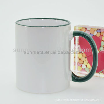 11oz White mug for sublimation wholesale with rim ahandle green color