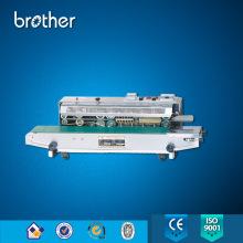Saco de folha de alumínio de alumínio contínuo e contínuo Máquina de vedação de calor Selador de fita com impressora de código de roda de tinta