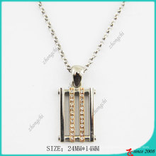 Gold Tone Square Metal Pendant Fashion Necklace (PN)