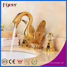 Fyeer Fashionable Golden Double Handle Swan Wash Basin Faucet