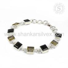 Prata em prata de moda 925 Pulseira de quartzo citrino e fumaça Pulseira de jóias de prata artesanal