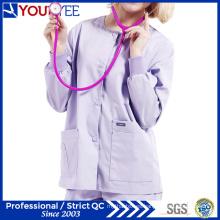 Ropa de trabajo de atención sanitaria personalizada del hospital Warm up Snap Frente Scrub chaqueta (YHS114)
