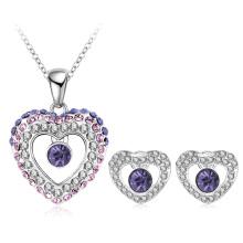 La joyería cristalina del amor del corazón doble del gradiente fija 5colors (PCST0002-B)
