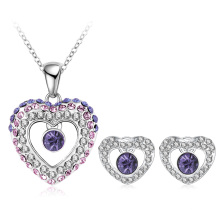 Gradient Double Heart Crystal Love Jewelry Sets 5colors (PCST0002-B)
