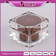 Acrylic empty luxury cosmetic jars, personal care square shape luxury acrylic cosmetic packing wholesale